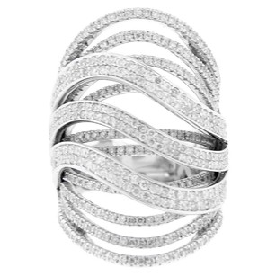 Other Glk 18k White Gold 3.05ct Diamond Open Ribbed Ring