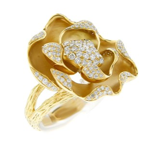 Glk 18k Yellow Gold Flower 1.359ct Diamond Center Star Ring