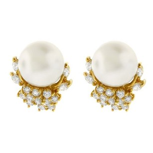 Other Glk 18k Yellow Gold Round And Marquis Diamond Pearl Earrings