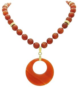Other Gold Filled Carnelian Agate Drop Pendant Necklace Inches Long N404