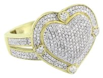 Other Gold Finish Heart Ring Genuine Diamonds Womens Pave Set Sterling Silver Elegant