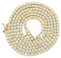 Gold Finish Tennis Necklace Lab Diamond Round Solitaire Link Inch Chain Mm
