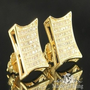 Other Gold Silver Square Kite 3ct Vs Lab Pave Diamond Earrings Stud