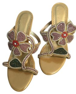 Other gold with mixed colored stone Sandals