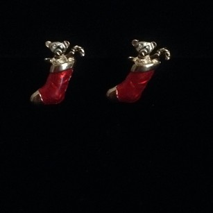 Other Gold W/Red Enamel Christmas Stocking W/Gold Teddy Bear W/Diamond Crystal Eyes & Candy Cane Earrings