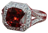 Other Gorgeous Platinum Plated Red and white CZ Ring