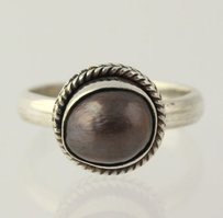 Other Gray Freshwater Pearl Ring - Sterling Silver 925 Solitaire Womens