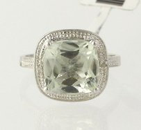 Other Green Amethyst Cocktail Halo Ring - Sterling Silver Diamonds Round 3.31ctw