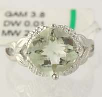 Other Green Amethyst Cocktail Ring - 925 Sterling Silver Band Womens Diamonds