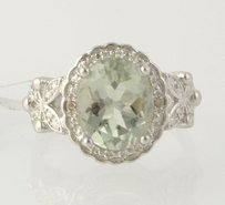 Green Amethyst Cocktail Ring - Sterling Silver Diamonds Womens 2.92ctw