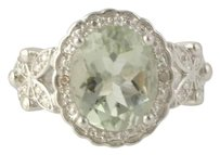 Other Green Amethyst Cocktail Ring - Sterling Silver Diamonds Womens 2.92ctw