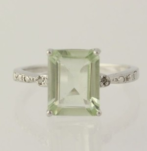 Green Amethyst Ring Sterling Silver 925 Emerald Solitaire 6.75 Diamonds