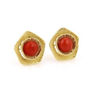 Other H. Stern 18k Yellow Gold Coral Cabochon Earrings