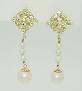 Hammerman Bros 18k Gold Pearl 2.2ct Vvs H-i Diamond Drop Dangle Earrings E33