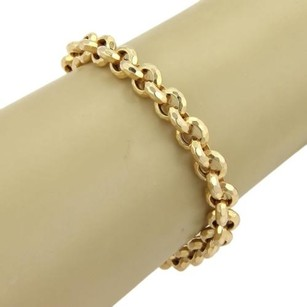 Hand Hammered Rolo Link Chain 14k Yellow Gold Bracelet -8 14