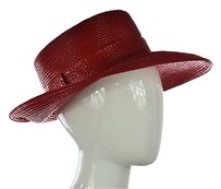 Other Frank Olive Womens Red Wide Brim Hat Os Straw Textured Casual