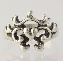 Heart Swirling Cocktail Ring - 925 Sterling Silver Womens Fine Estate 5.75-6