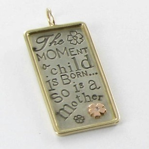 Other Heather B Moore Charm Pendant Framed Rectangle Child Mother Diamond 925 14k Yg