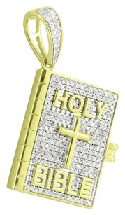 Other Holy Bible Pendant In 10k Real Yellow Gold Christian Pave Set Diamonds Custom