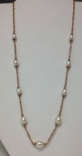 Honora Collection Rose Gold Tone Bronze White Cultured Pearl Necklace B3290