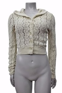 Other Guinevere Open Knit Cotton Hooded Cropped Cardigan Anthropologie Sweater