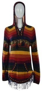 Other Artesanias Willy Womens Red Hooded Alpaca Striped Casual Shirt Sweater