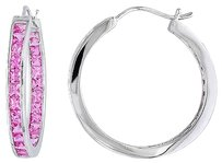 Other Sterling Silver 6 14 Ct Tgw Pink Sapphire Hoop Earrings