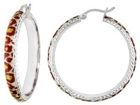 Sterling Silver Leopard Patern Hoop Earrings