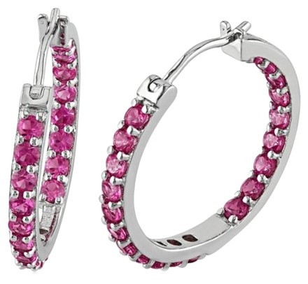 Other Sterling Silver Pink Sapphire Hoop Earrings 3.6 Ct Cttw