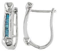 Other Sterling Silver 125 Ct Tdw Tapered Baguette Blue Diamond Hoop Earrings