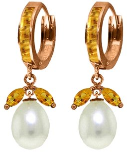 10.3 Ct 14k Rose Gold Citrine and Pearl Dangle Earrings