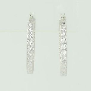Other Hoop Earrings - 14k White Gold Etched Pattern Pierced 1 Womens