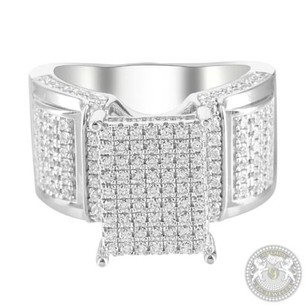 Icy White Gold Finish Womens Prong Lab Diamond Side Accent Cluster Wedding Ring