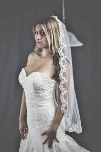 New High Quality Lace Bridal Veil Color Ivory
