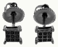 Black Square 5mm Earrings Black Lab Created Diamonds Screw Back Party Wear