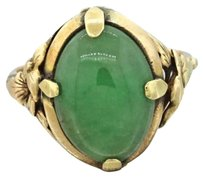 1880s Antique Victorian Womens Estate 14k Solid Yellow Gold Jade Cabochon Ring