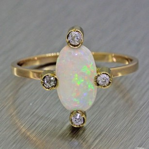 1880s Antique Victorian Estate Womens 14k Yellow Gold Fire Opal Diamond Ring