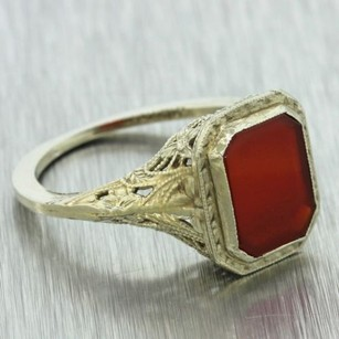 1930s Antique Art Deco Estate 14k Solid White Gold Carnelian Filigree Ring