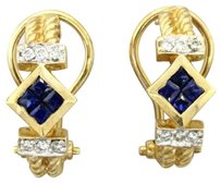 Other 1960s Vintage Estate 14k Yellow Gold .25ctw Sapphire .18ctw Diamond Earrings