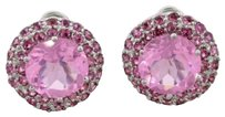 Modern Estate 18k Solid White Gold Pink Stone Earrings