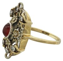 Other 1880s Antique Victorian Estate 14k Yellow Gold Silver Garnet Pearl Flower Ring