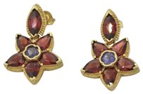 1960s Vintage 14k Solid Yellow Gold Marquise Garnet Tanzanite Star Earrings