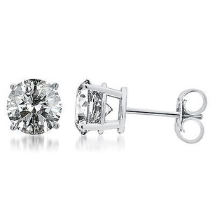 Other Solid 14k White Gold Round Cut Diamond Solitaire Studs Earrings 1 Ct