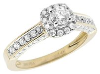 Ladies 14k Yellow Gold 3d Halo Solitaire Genuine Diamond Engagement Ring 1.0ct