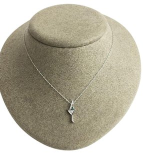 10k White Gold Diamond Emerald Martini Pendant .06ctw W 18 Chain Max064521