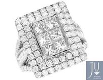 Other 14k White Gold Princess Baguette Real Diamond Piece Bridal Ring Set 4.25ct