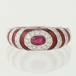Ruby Diamond Ring - 18k White Gold 12 Red Enamel .83ctw