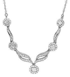 Other Genuine Diamond 14k White Gold Designer Floral Ladies Flower Necklace 1.50ct