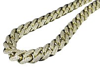 Mens 10k Yellow Gold Miami Cuban Link Real Diamond Necklace Chain 22.50ct 30