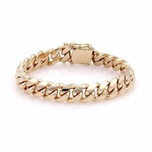 Other Mens 14k Yellow Gold 12mm Wide Curb Link Chain Bracelet 94.4 Grams